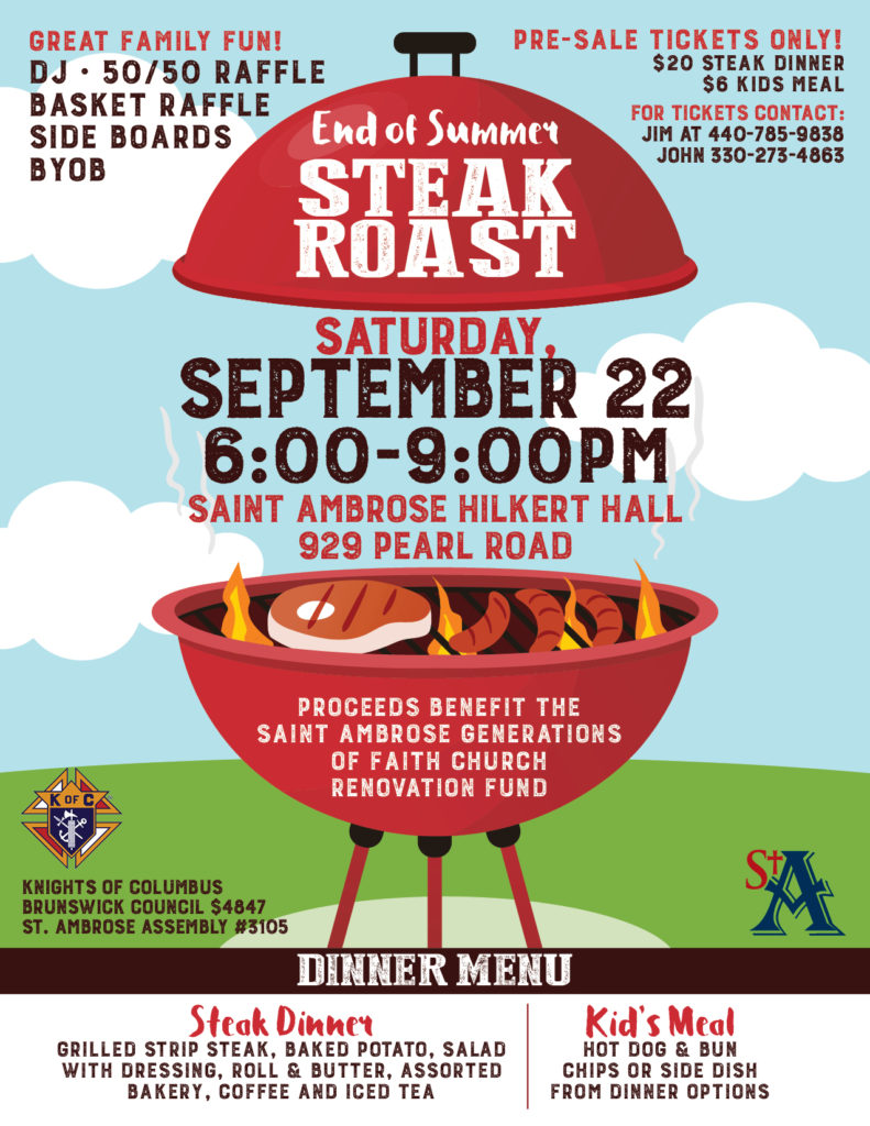 sa18 steak roast flyer saint ambrose catholic parish